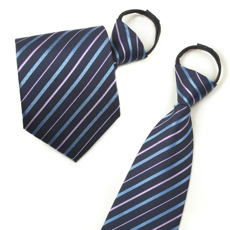 Ginllary accessorise easy to pull zipper tie men dress blue striped tie tie gift box