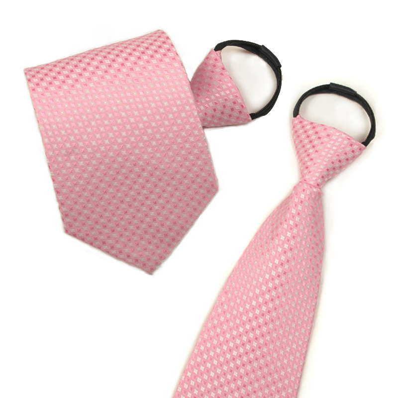 Ginllary tie convenient zipper tie easy to pull men and women romantic pink