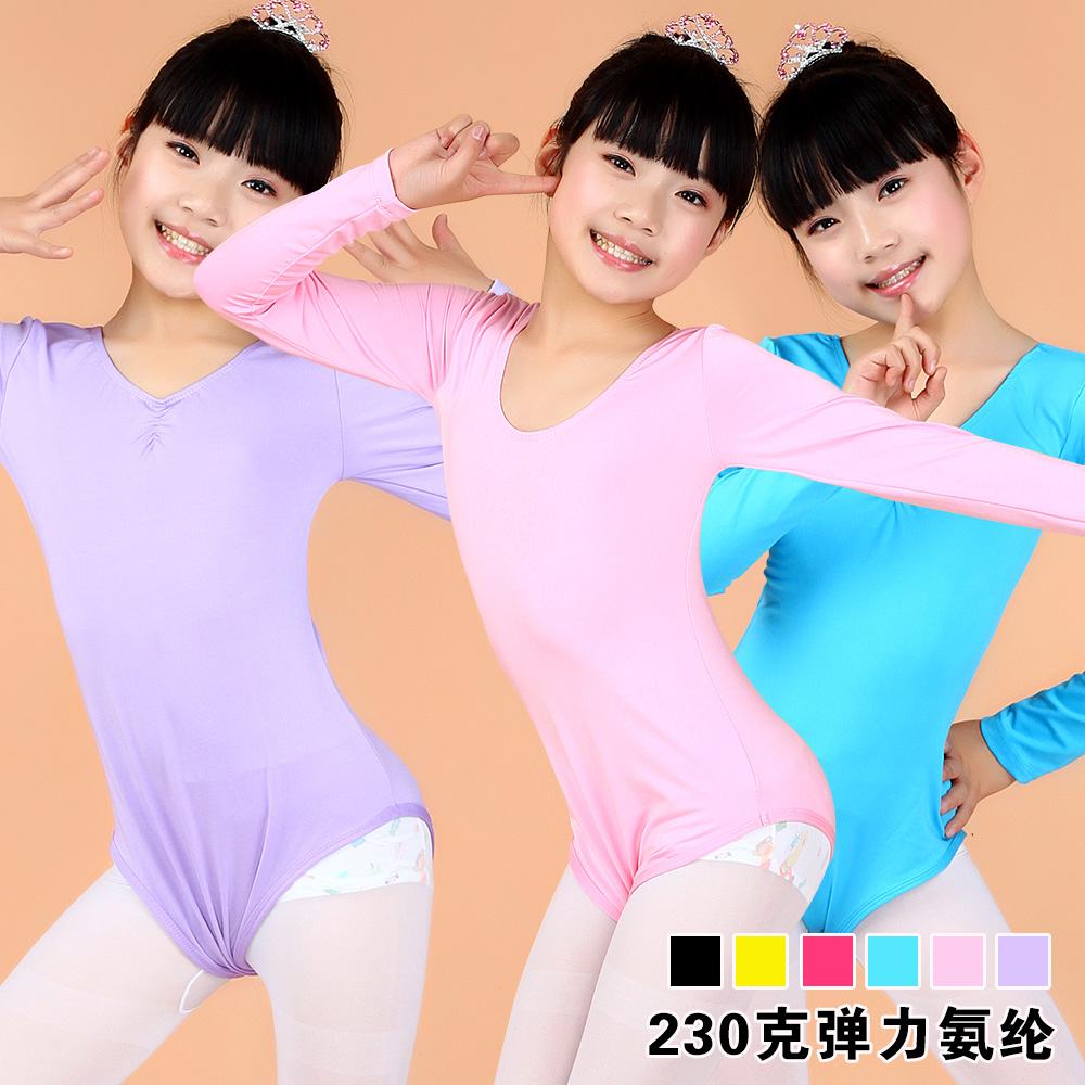 Girls clothes and children's dance clothing cotton long sleeve body suit autumn and winter thicken even body clothing chinese dance clothes grading