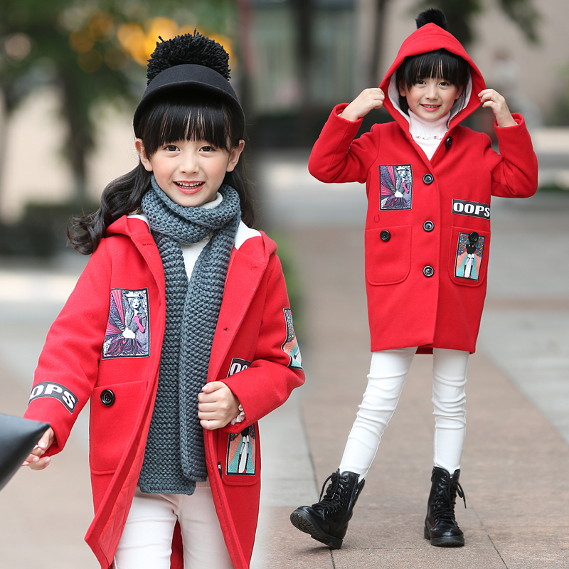 Girls coat woolen coat 2016 autumn and winter korean models big virgin female cartoon wild child woolen coat autumn