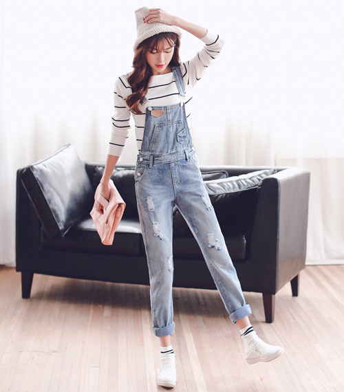 Girls college wind 2016 spring new korean version of junior high school students adolescent high school students jeans strap pants trousers
