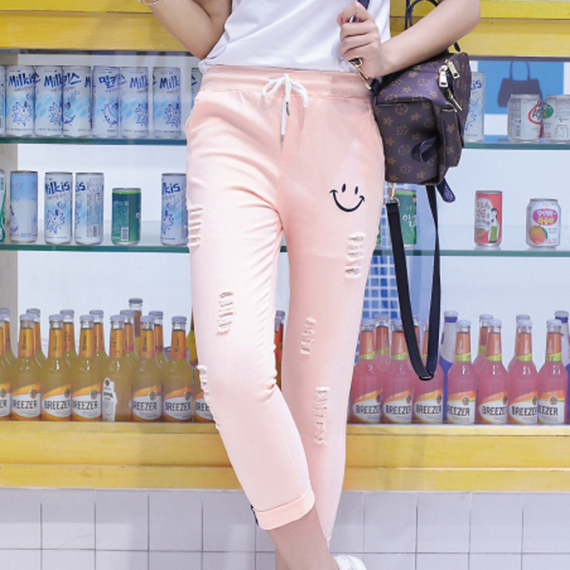 Girls korean version of 2016 high school students in summer candy colored casual pants female wild slim was thin hole pant tide