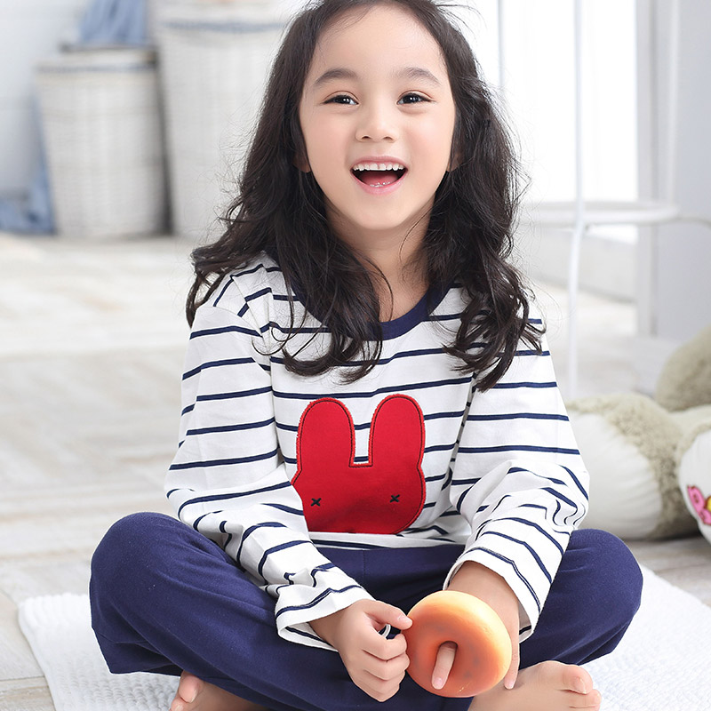 Girls spring and autumn children's pajamas cotton pajamas air conditioning service sleeved suit big virgin girls tracksuit kids