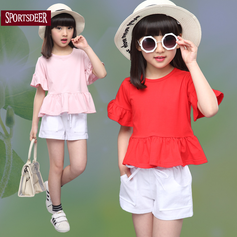 Girls summer suit 2016 new children's clothing girls short sleeve summer korean version of the influx of children's fashion piece shorts