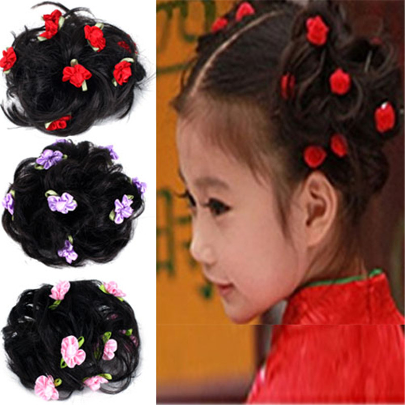 Girls wig bud cute children's performances headdress flower head hair band hair accessories hair rope korean princess jewelry accessories