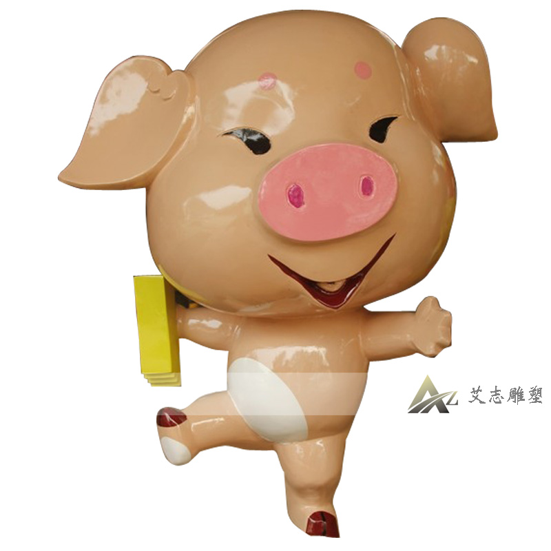 Glass and steel sculpture cartoon painted cartoon pig sculpture fiberglass sculpture animal sculpture AZ0025