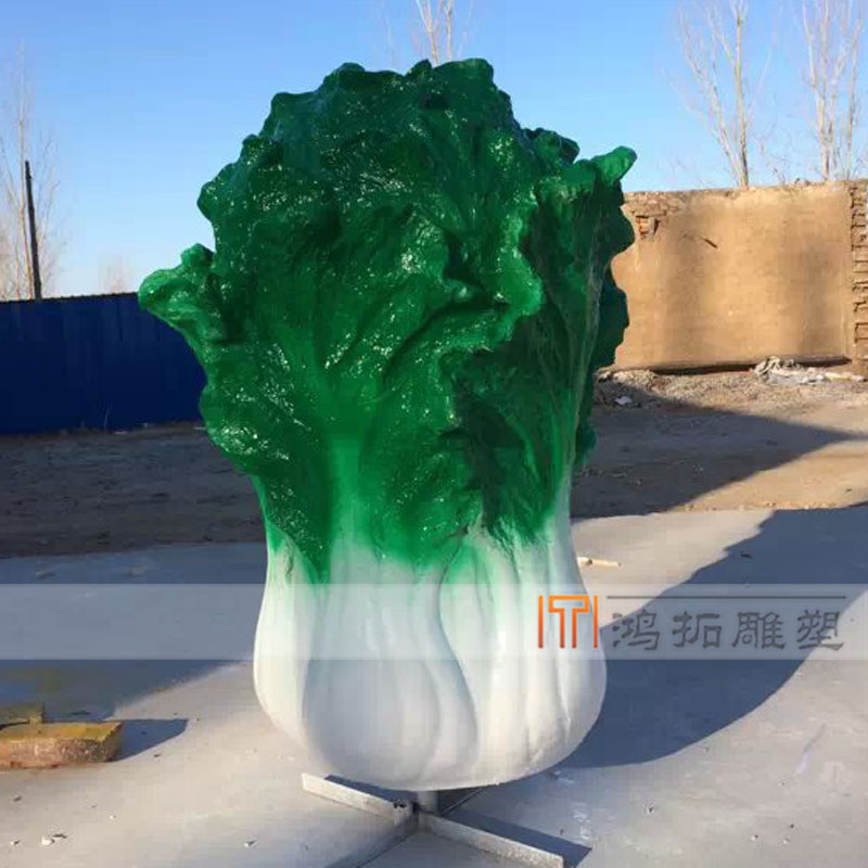 Glass and steel sculpture sculpture sculpture painted cabbage vegetables people figure sculpture custom HT-047