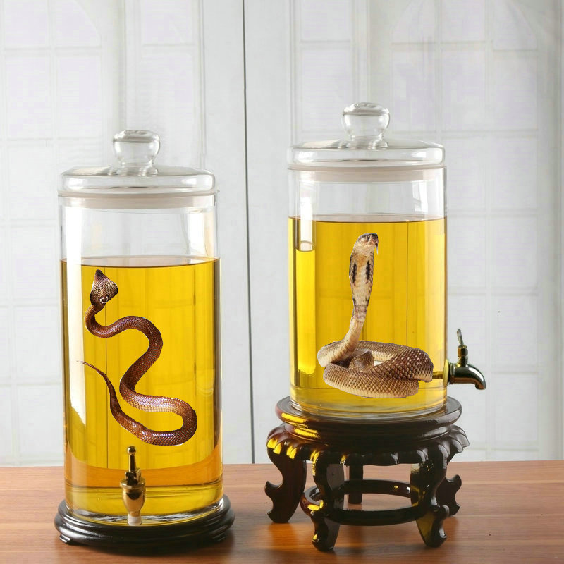 Glass jars with leading ginseng bubble bottle sparkling wine brewed wine snake wine wine bottle jar unleaded large cask