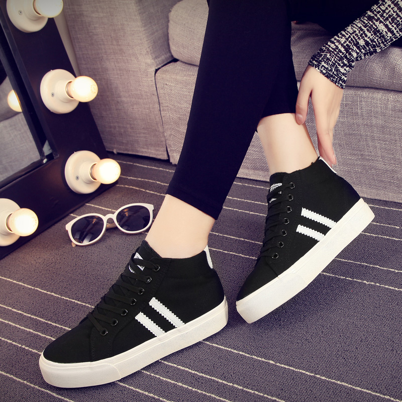 Global 2016 spring and autumn canvas shoes women high shoes korean fashion sports shoes casual shoes increased within the women's singles shoes shoes