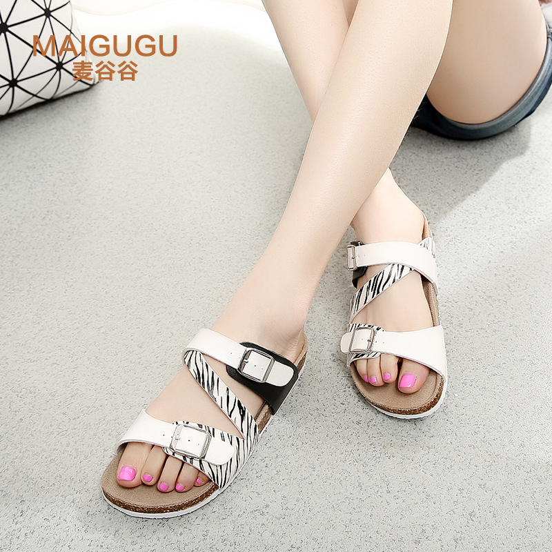 e7f59fdbb Buy Glutenin valley korean girls fashion cork slippers word drag sandals  and slippers female summer outer wear big yards lovers beach shoes in Cheap  Price ...