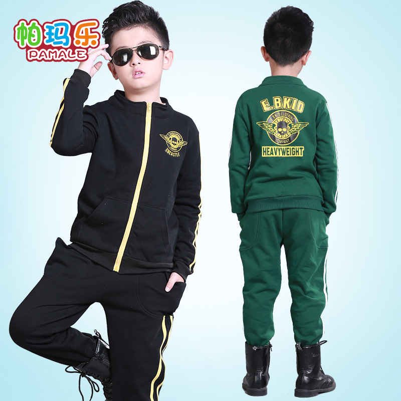 Goat le autumn new boys sports suit leisure suit big virgin child sportswear suit zipper