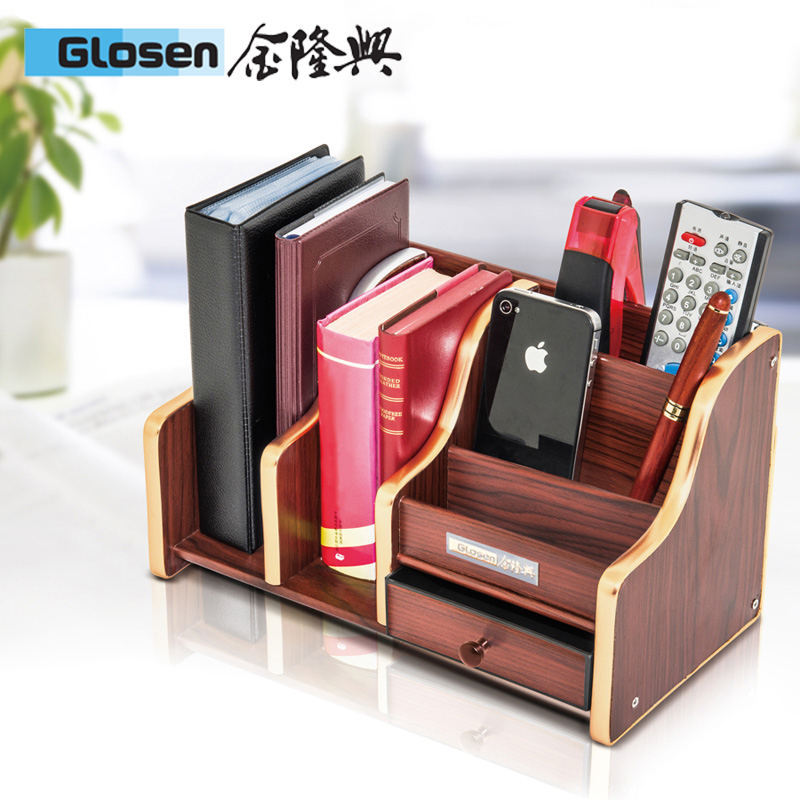 Gold longxing multifunction pen business creative desktop storage box with drawer wooden pen holder combination