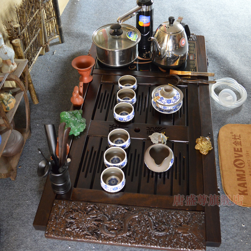 Gold stove electric stove electric stoveåçroyal tea set ebony wood tea tray tea tray