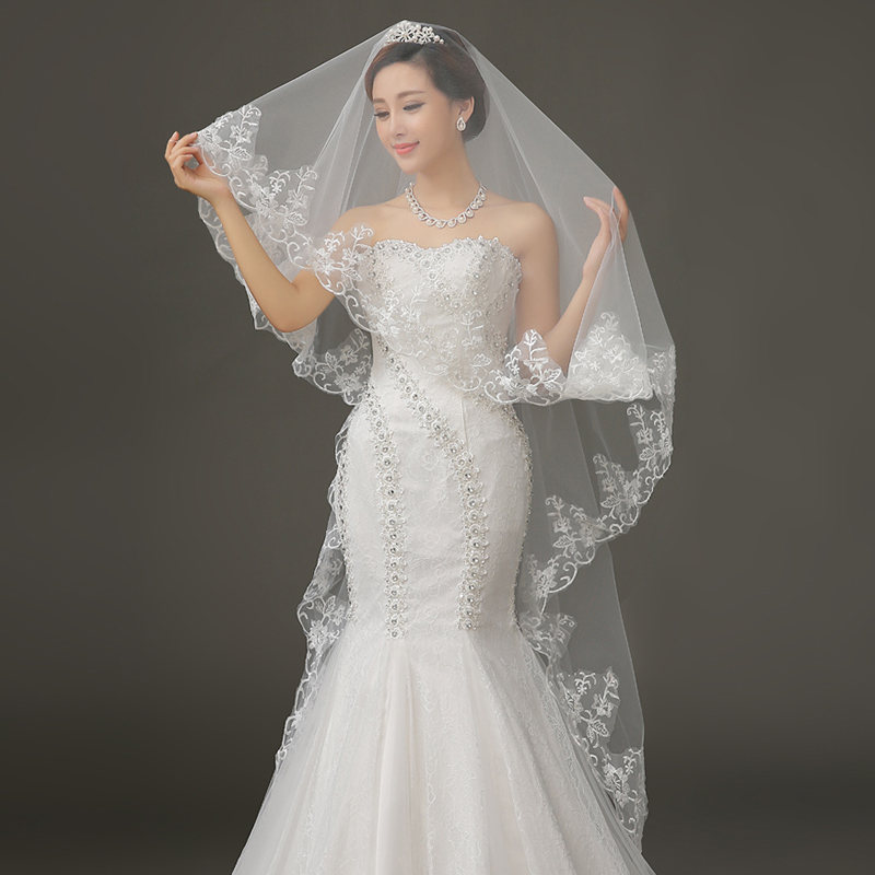 Golden bridal veil wedding dress new long white bridal accessories korean fashion multilayer