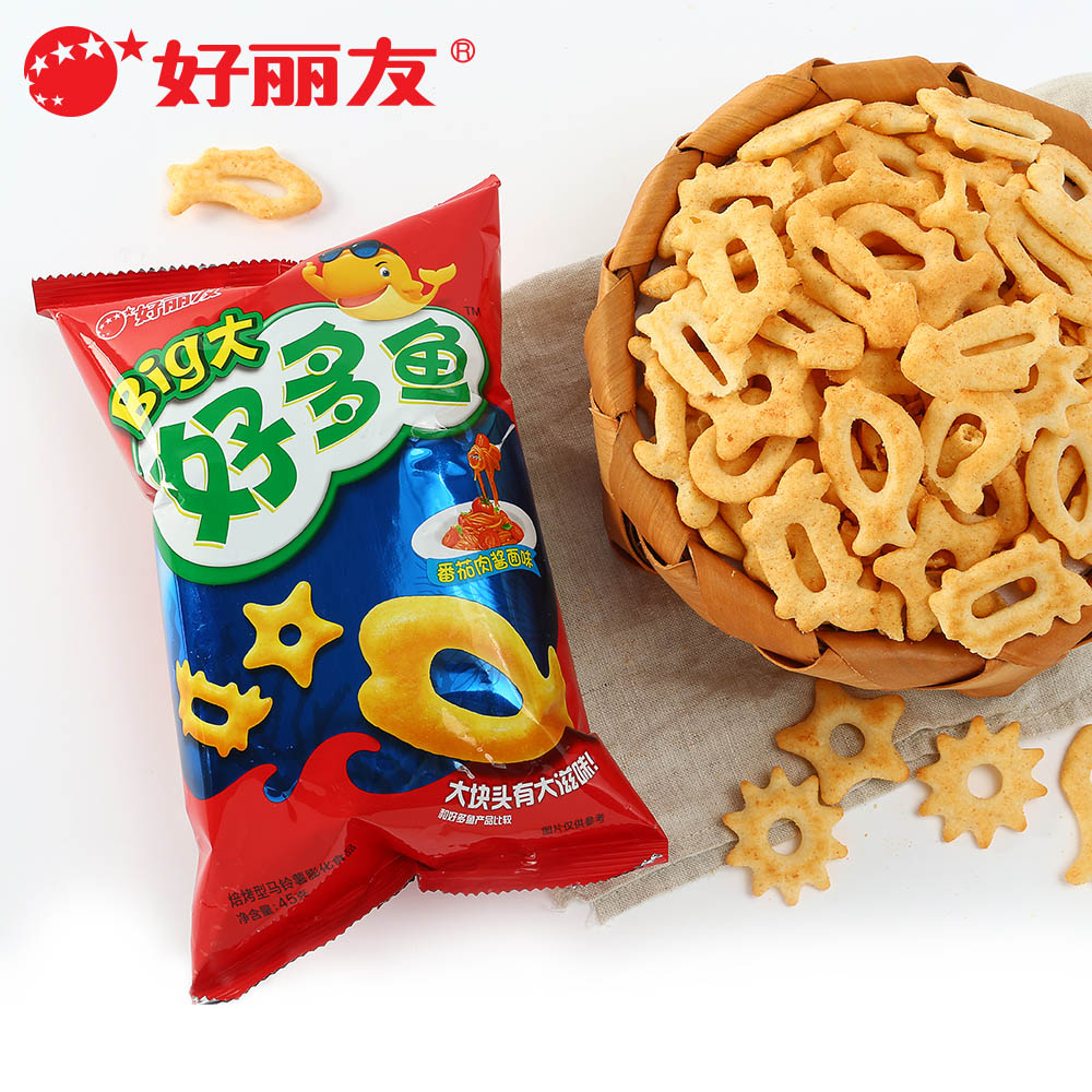 Good korea friendship many fish biscuits tomato sauce face flavor cheese baked rice cake flavor 45g