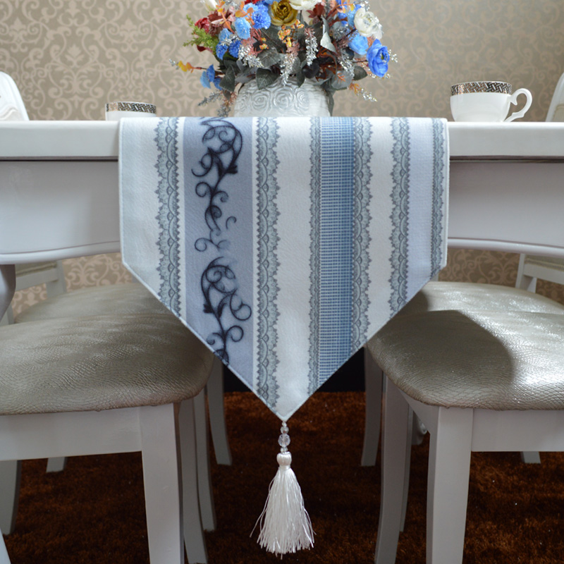 Good margin billion in the modern minimalist mediterranean blue and gray striped table runner european fashion coffee table cloth flag placemats