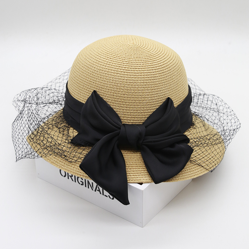 Goorin bros korean version of the spring and autumn hat female jazz hat straw hat summer hat bow visor hat fish cardiff
