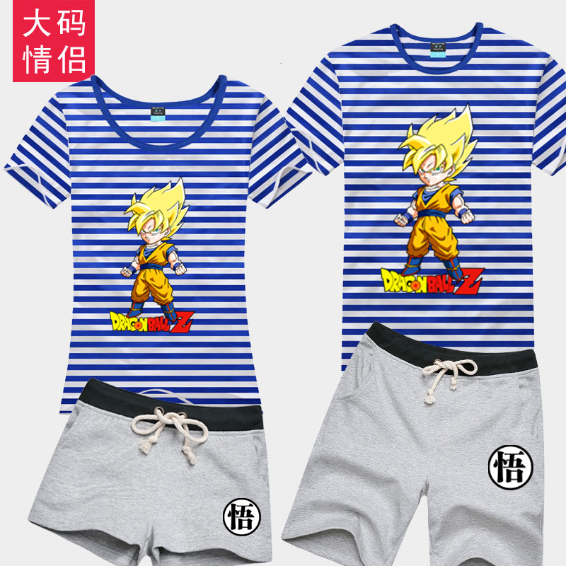 Goten goku dragon ball cartoon sea striped shirt cartoon t-shirt adolescent male students pure cotton short sleeve shorts suit