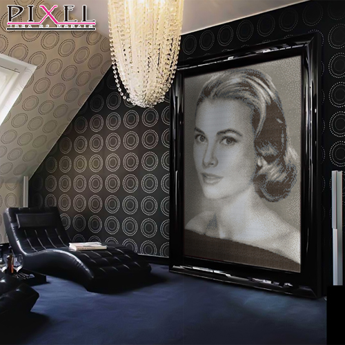 Grace kelly 01 characters puzzle mosaic art glass hot melt gold background entrance hallway living room wall