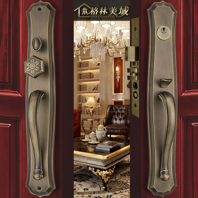Grammy domain chinese copper villa large locks all copper door locks continental antique wood door locks off double to open the