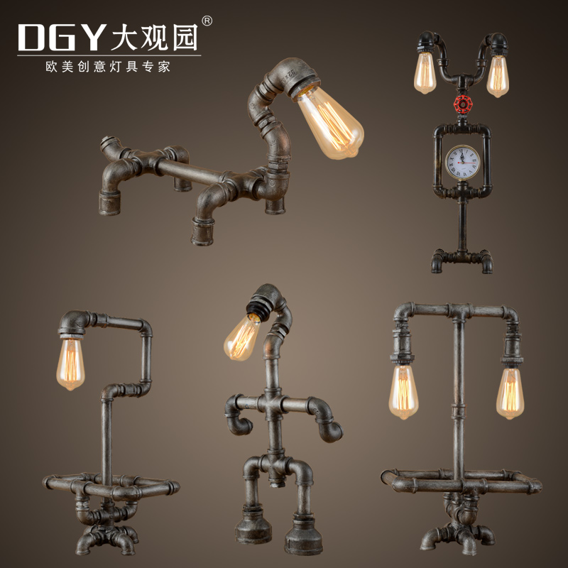Grand view garden american industrial wind retro personality robot bar table lamp bedroom lamp creative decorative plumbing