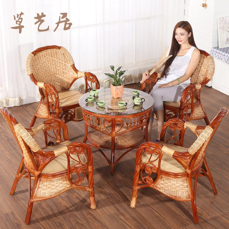 Grass arts habitat rattan garden balcony indoor leisure rattan chair three sets of tables and chairs kit combination coffee table chair