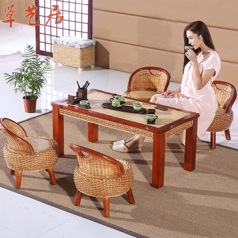 Grass arts habitat rattan natural water song kung fu tea table tea table antique wood coffee table tea table chair combination kit kit