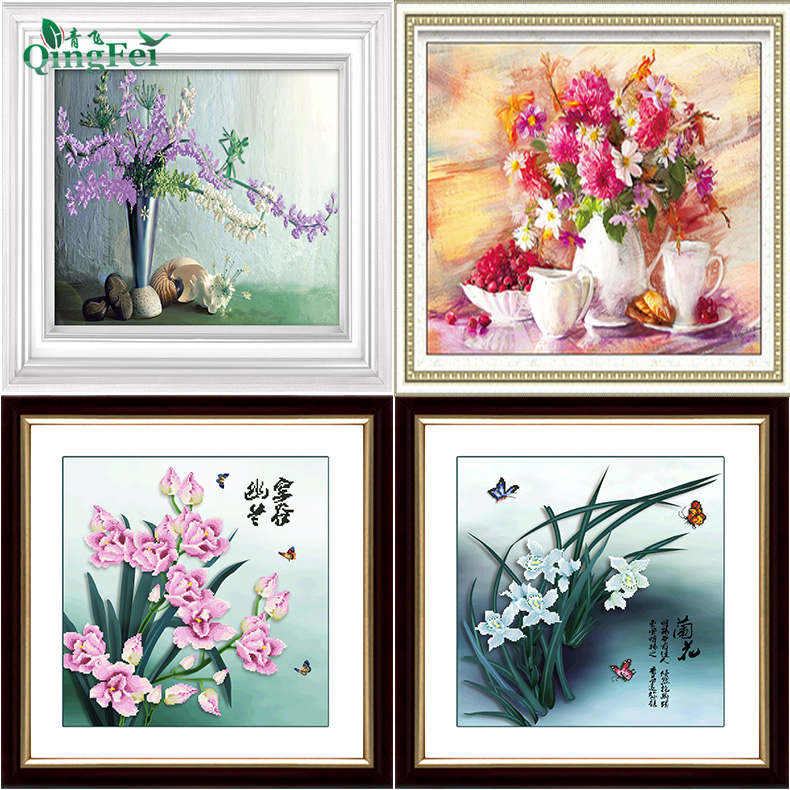 Green fly precise 3d printing stitch orchids flower chan yu rareness clivia flowers series living room free shipping