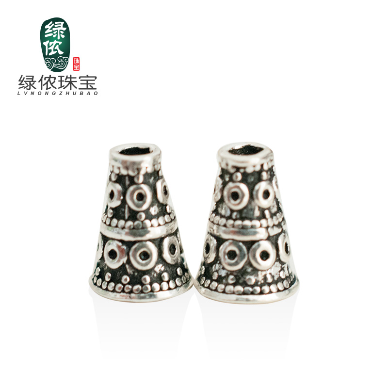Green lennon s925 silver double dot small pagoda buddha head tee diy accessories beads bracelet jewelry accessories