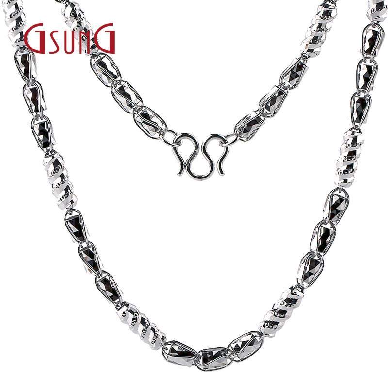 Gsung kyrgyzstan kyrgyzstan platinum shiny jewelry men's fashion plain gold pt950 platinum necklace passepartout transport chain