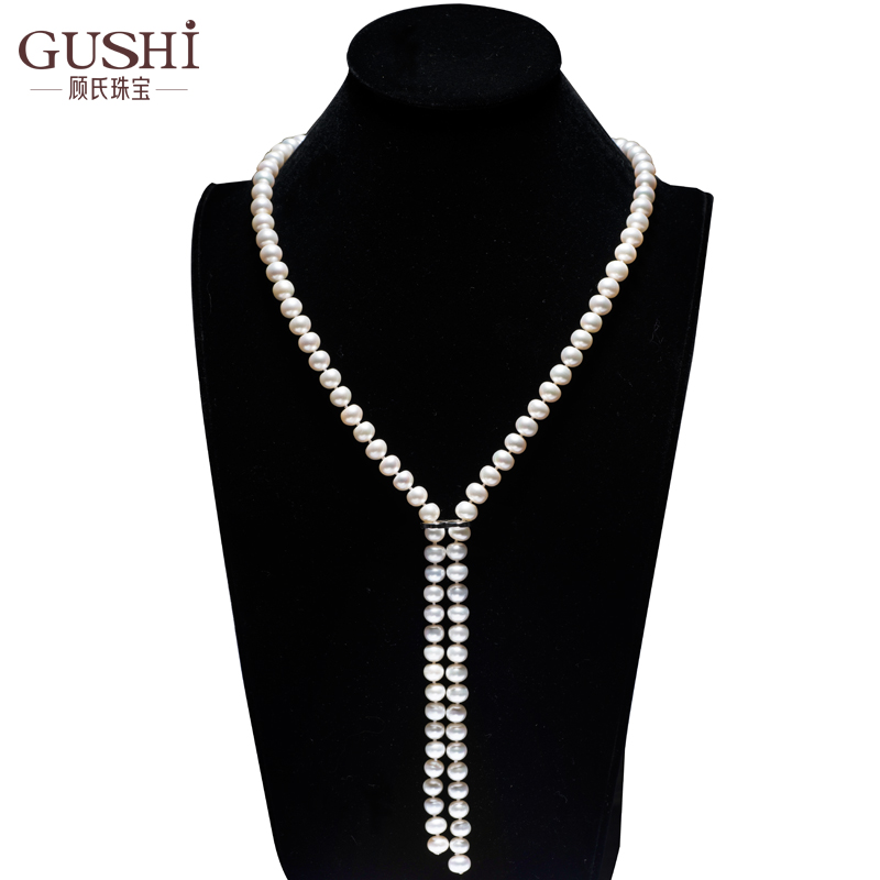 Gu random wild natural freshwater pearl necklace glare korean fashion sweater chain long section plus adjustable buckle
