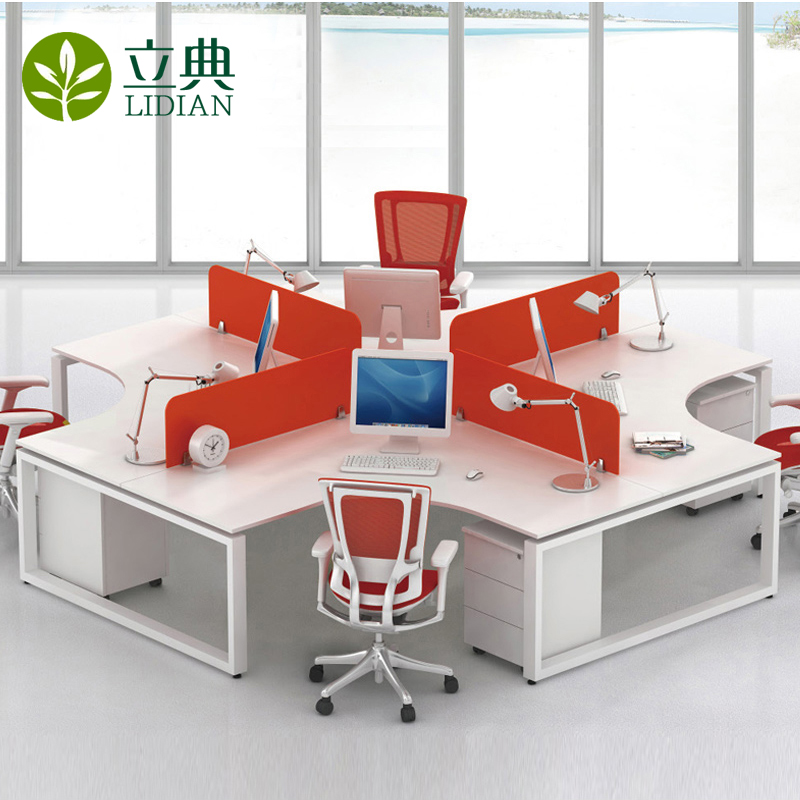 Guangzhou modern office furniture office staff computer desk wall panels 4 digit card holder desk staff 6 people