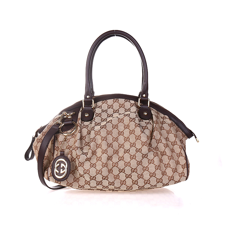 f123cc6abbb39f Get Quotations · Gucci/gucci classic brown fabric with leather handbags  dumpling bag 223974