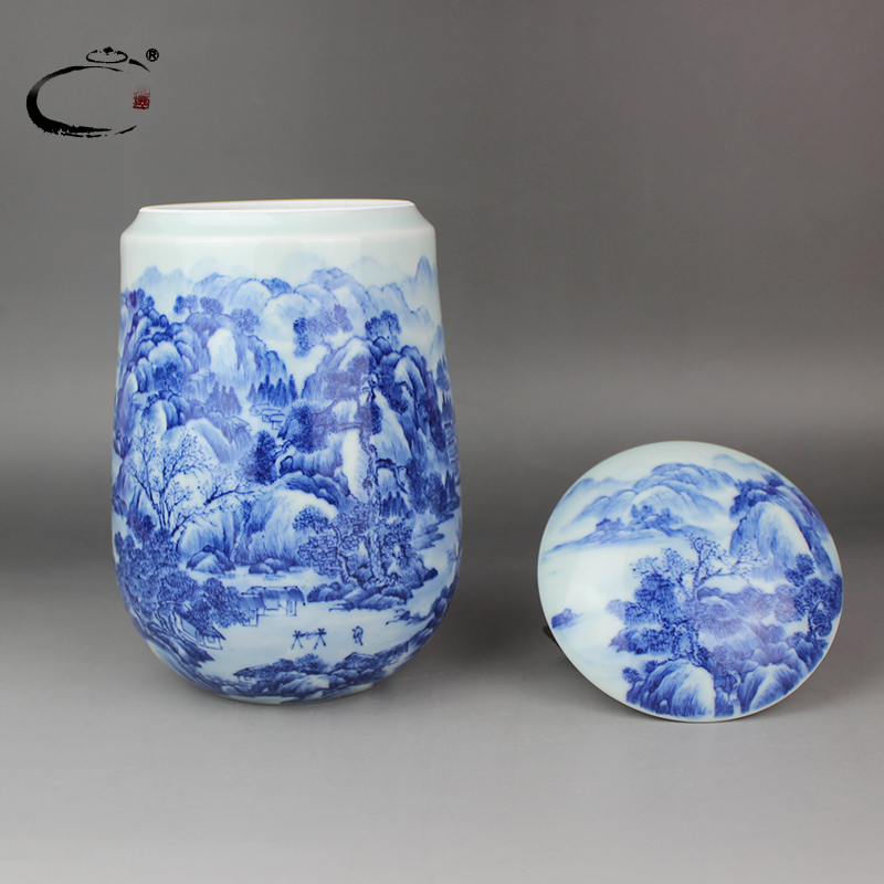 Gui xiang fine ceramic tea caddy sealed cans wake tea pot blue and white landscape high tea gift box packaging cans
