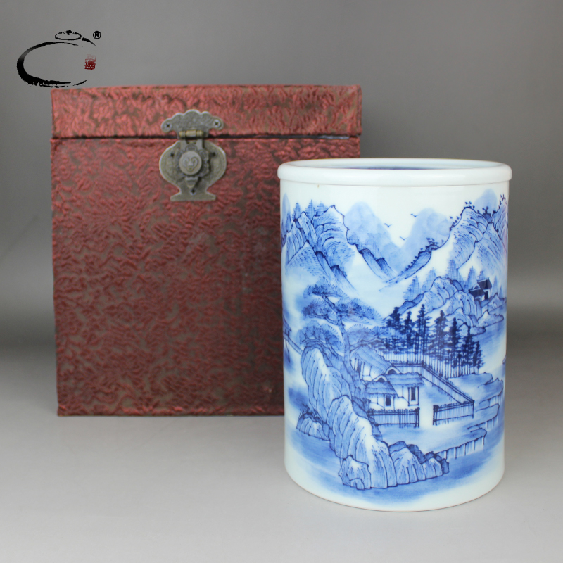 Gui xiang jing de cabin collection of blue and white landscape jingdezhen hand painted ceramic tea caddy chaguan sealed storage tank