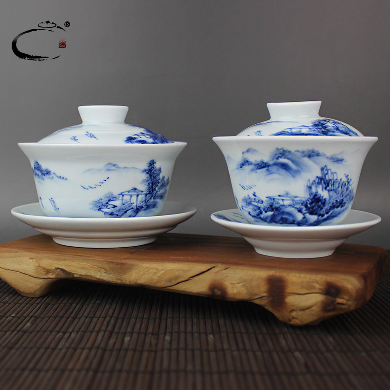 Gui xiang jingdezhen hand painted blue and white landscape large tureen with god kung fu tea cup ceramic teapot teacup