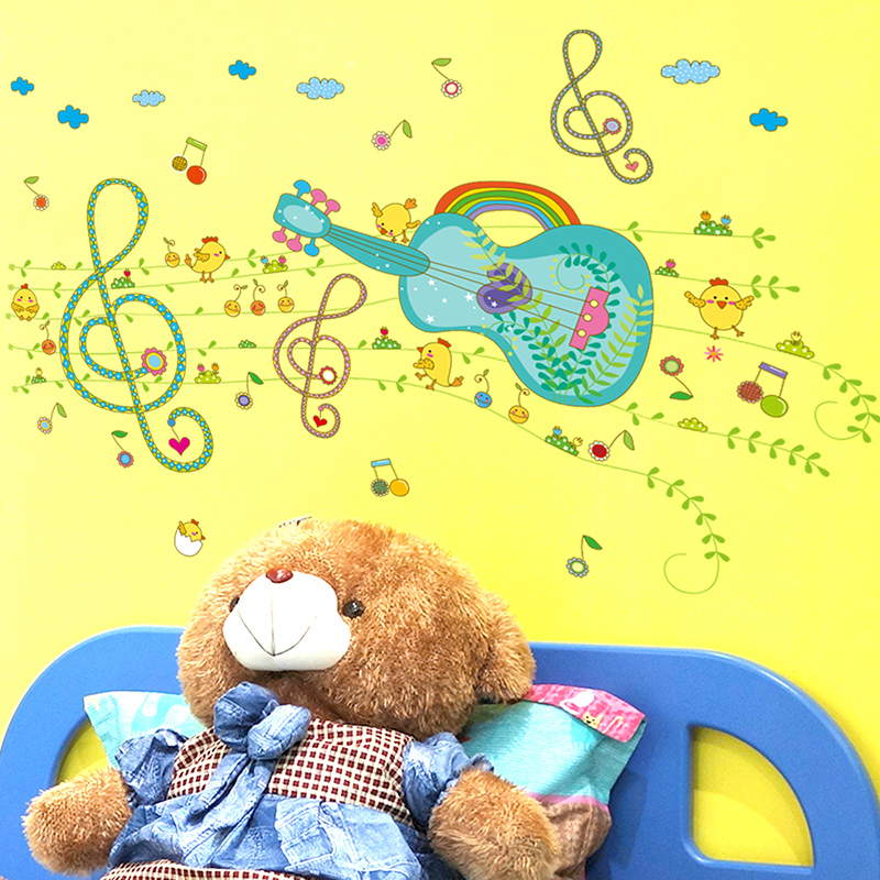 Guitar cartoon removable wall stickers children's room bedroom bathroom waterproof stickers sofa background wall painting ideas