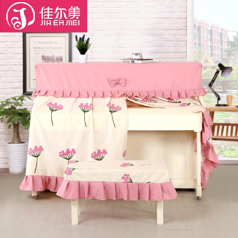 Guy us new modern minimalist pastoral piano cover piano cover the whole set of cotton embroidered flowers piano cover piano stool sets