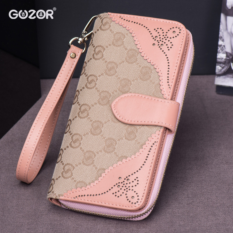 Guzor/ancient zhuo folder zipper ms. wallet female long section 2016 new korean version of the large capacity in europe and america canvas hiswallet