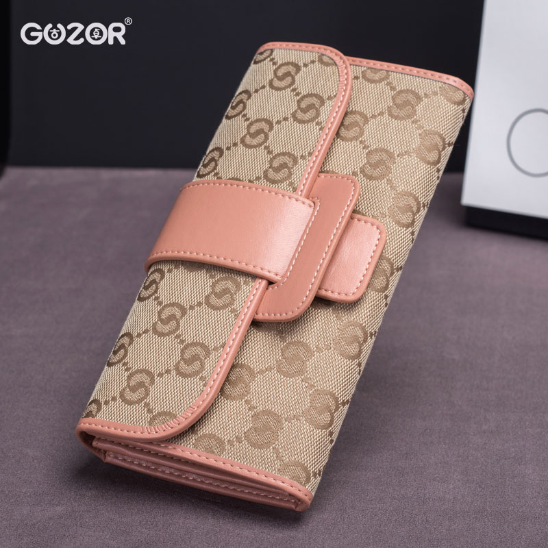 Guzor/ancient zhuo new ms. wallet long section of japanese and korean female students canvas bag large capacity wallet leather wallet