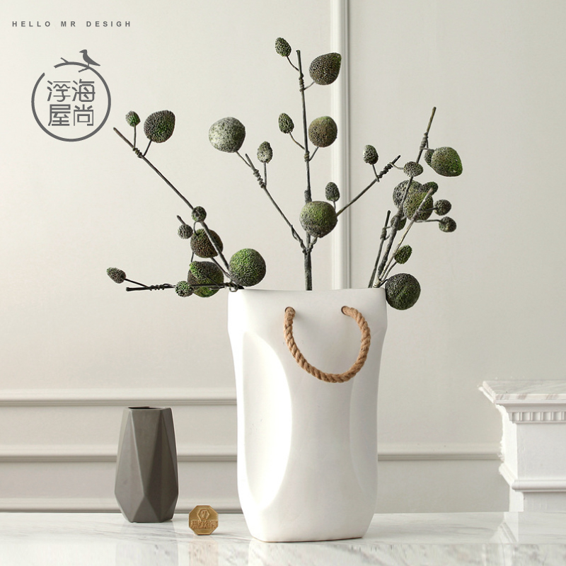 H minimalist modern and stylish matte ceramic vase flower containers creative home a rope of craft home decoration