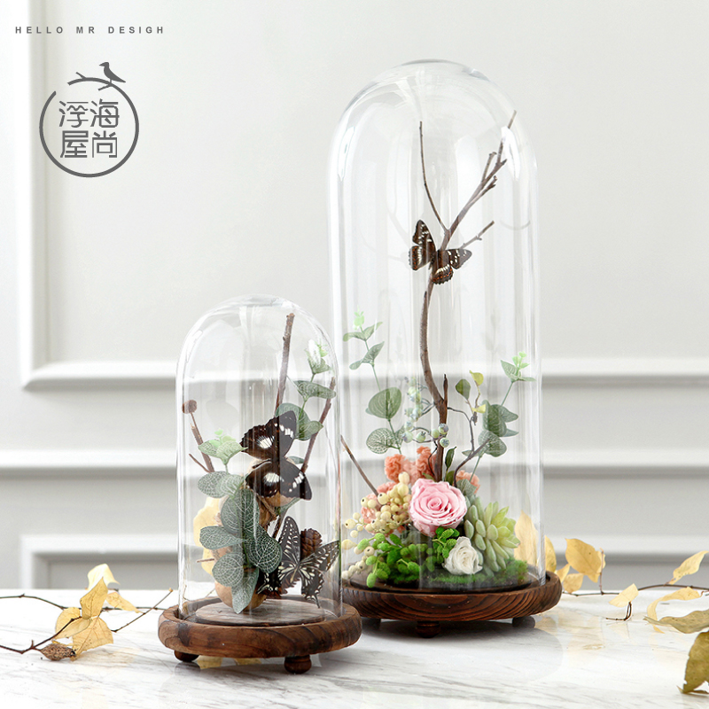 H original transparent glass cover model room decoration crafts ornaments home clogs holder glass jar furnishings
