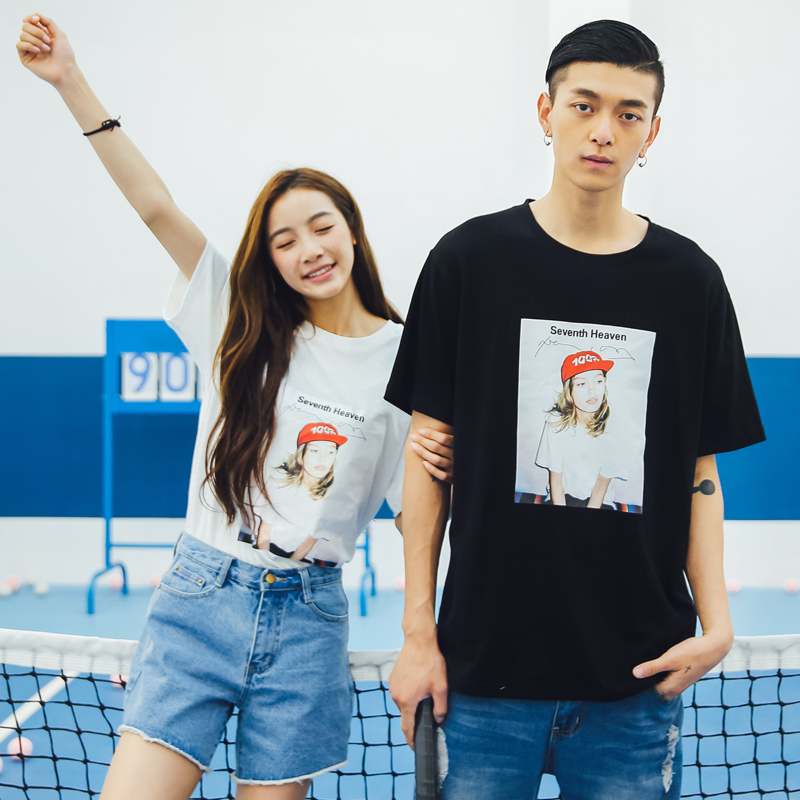 Hahn qlz lovers summer new men and women 2016 new korean version of the cartoon character word female short sleeve t-shirt lovers