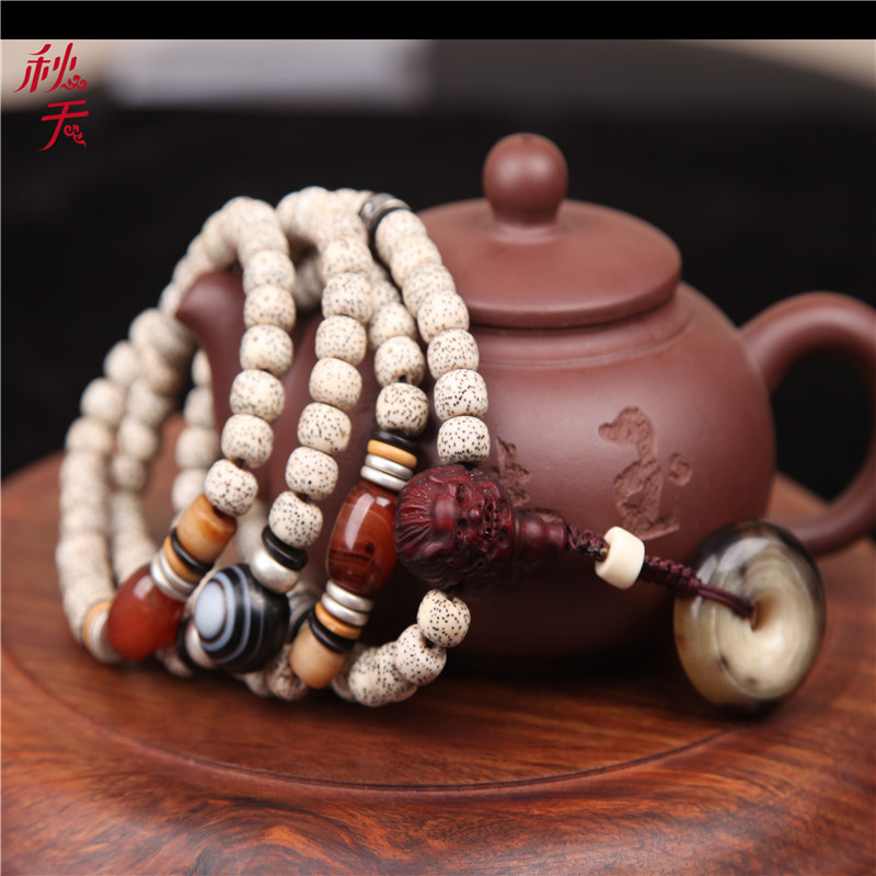Hainan xingyue pu tizi month high density along the white dry grinding barrel bead 108 lunar Januaryé¢bracelets tibetan prayer beads rosary beads hand chain