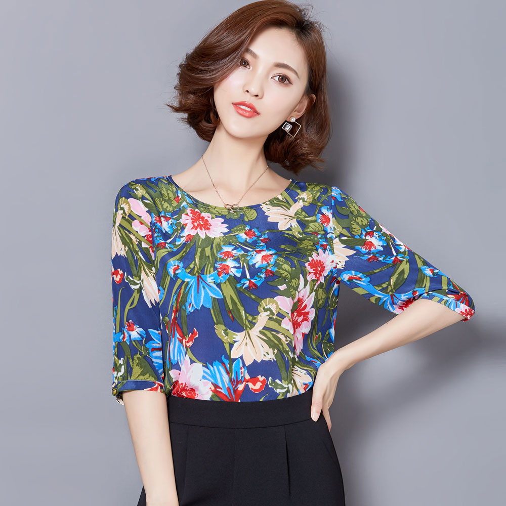 Half sleeve female 2016 summer loose big yards chiffon shirt female korean version of a short section of female models on clothing chiffon short sleeve blouses