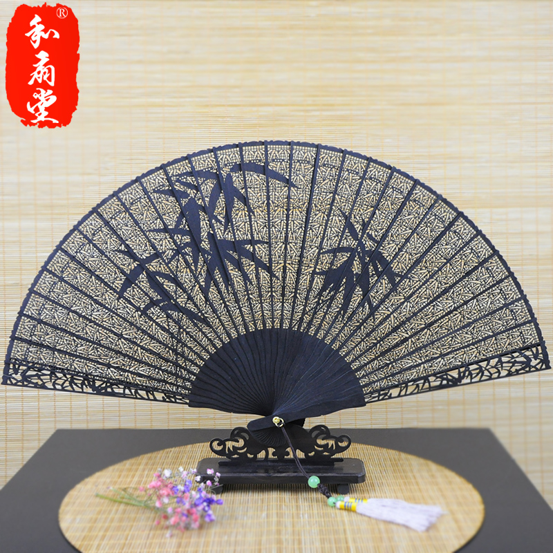 Hall 7 inch female fan chinese style high quality foreign affairs andebonyto carving antiquity folding fan sandalwood fan gift fan