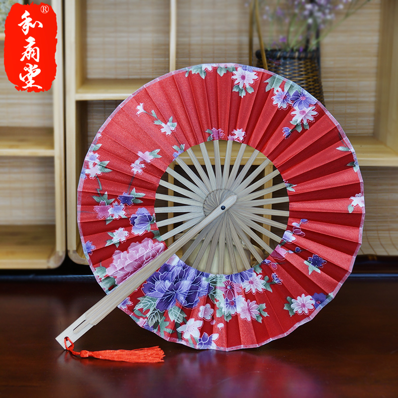 Hall japanese cherry and other 360 degrees round head bamboo folding fan women windmill fan multicolor