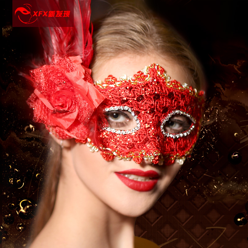 Halloween masquerade mask adult children leather lace princess mask venetian mask feather masks