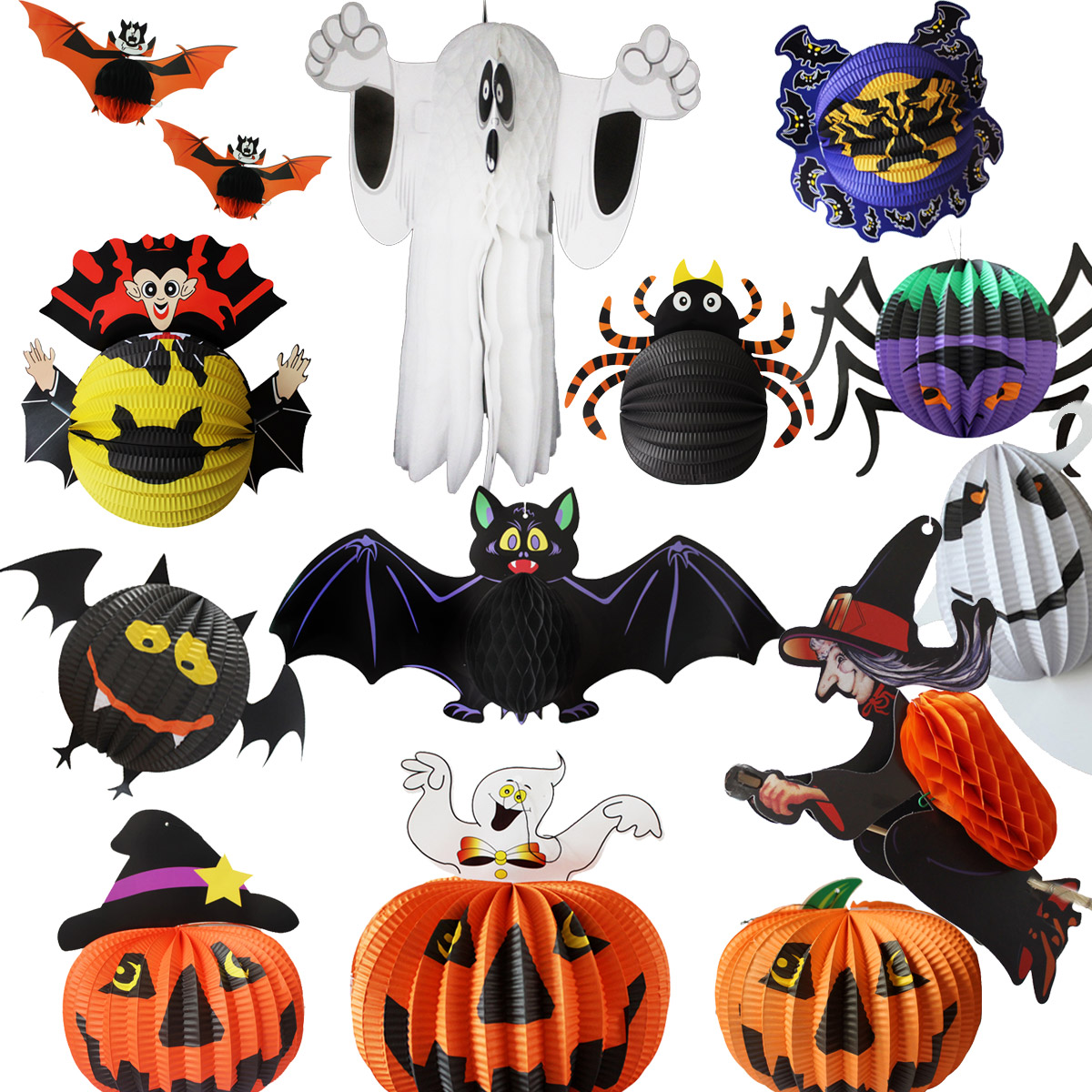 Halloween pumpkin witch ghost bar decoration supplies props arranged kindergarten large lantern ornaments charm
