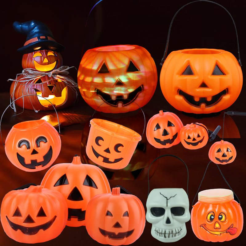 Halloween pumpkins halloween pumpkin lantern lantern candy jar jar luminous skeleton skull gift cans pumpkin bucket bag